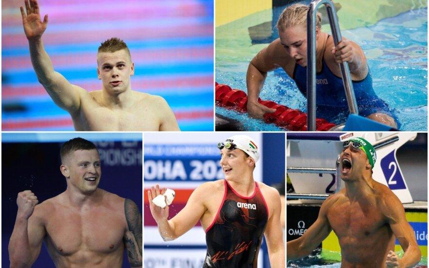 Danas Rapšys, Rūta Meilutytė (viršuje), Adamas Peaty, Katinka Hosszu, Chadas le Closas (apačioje)