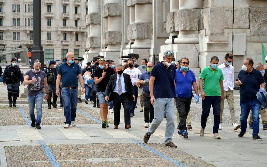 Italijoje dėl koronaviruso įvesta nepaprastoji padėtis pratęsta iki spalio vidurio