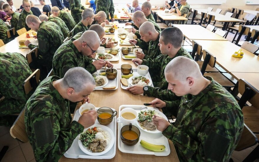 Conscripts in their mess hall