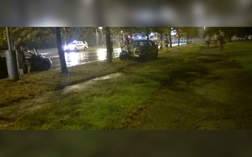 BMW kelionė baigėsi smūgiu į medį