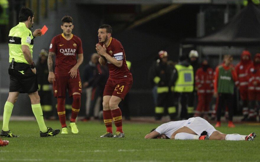 """""""Romą"""" Italijoje išgelbėjo po VAR peržiūros atšauktas varžovų įvartis"""