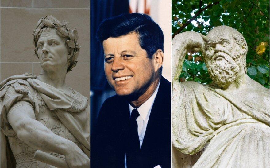 Gajaus Julijaus Cezario skulptūra, Džonas Fidžeraldas Kenedis ir Sokrato skulptūra