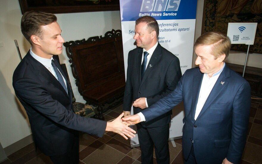 Gabrielius Landsbergis, Saulius Skvernelis ir Ramūnas Karbauskis