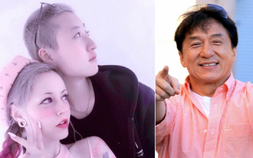 Jackie Chanas ir jo duktė su mylimąja