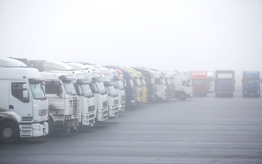 Trucks at the Belorussian Lithuanian border