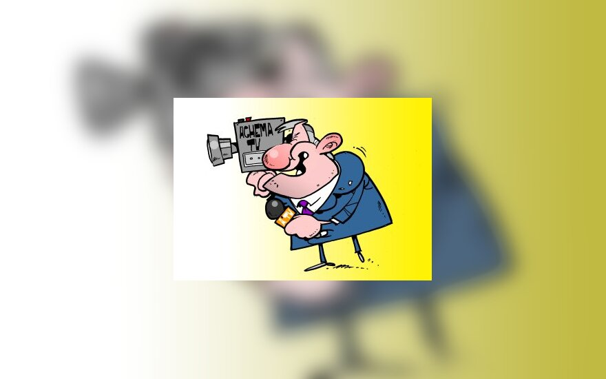 "Bronislovas Lubys, ""Achema"", TV4 - karikatūra"