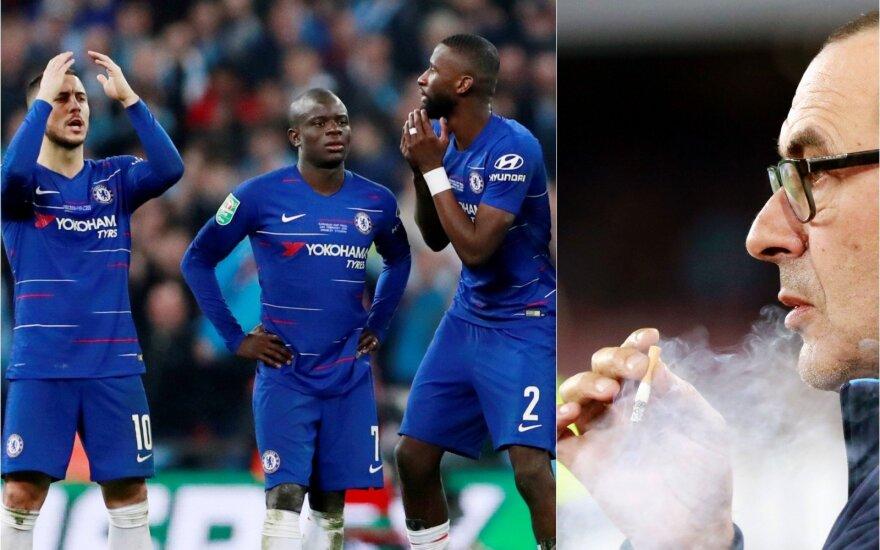 """""""Chelsea"""" futbolininkai, Maurizio Sarri / Foto: AFP-Scanpix"""