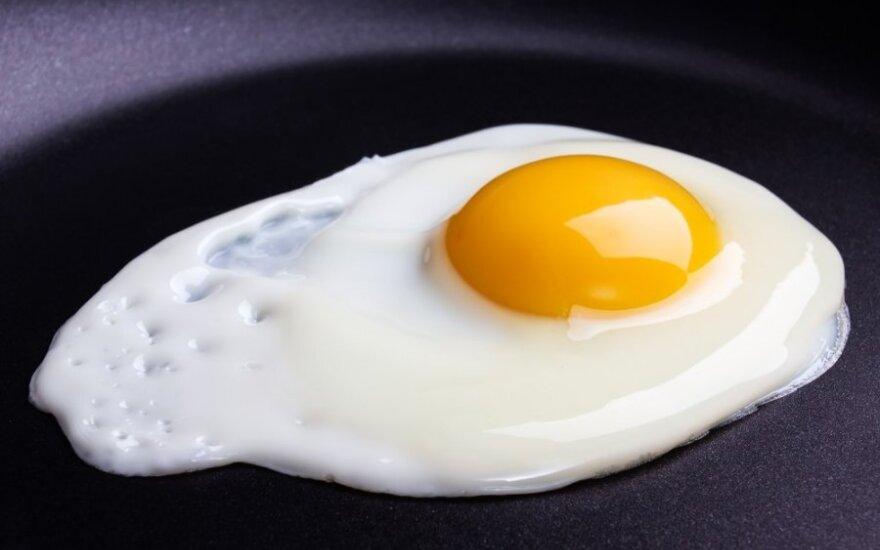 Kepti kiaušiniai be riebalų