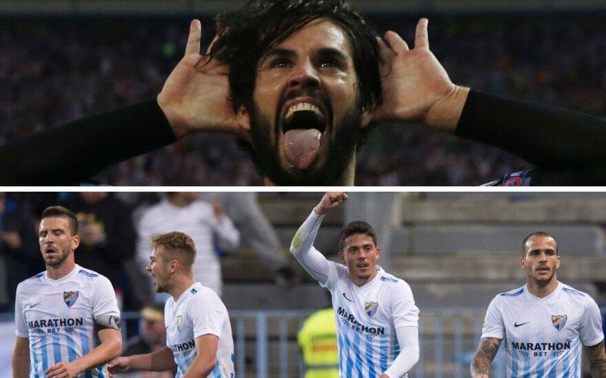 "Isco ir ""Malaga"" futbolininkai / Foto: Reuters/AP/Scanpix"