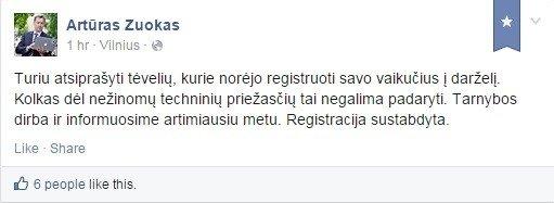 """Artūro Zuoko įrašas """"Facebook"""""""