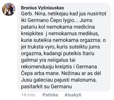 Bronislavo Vyšniausko komentaras socialiniame tinkle prajuokino Niną Puteikienę