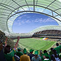 Atnaujinto Lansdowne Road (Airija) stadiono vizija.