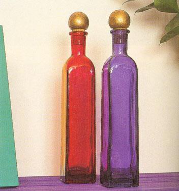 Spalvoto stiklo buteliai