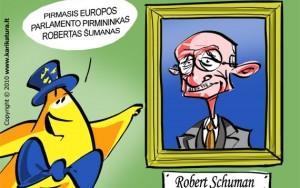 Europiukas domisi istorija ir Parlamente randa Roberto Schumano - pirmojo EP pirmininko portretą. Jis EP vadovo 1958-1960 m. Tuo metu EP narius dar deleguodavo valstybės narės. Demokratiškai EP nariai pradėti rinkti 1979 m.