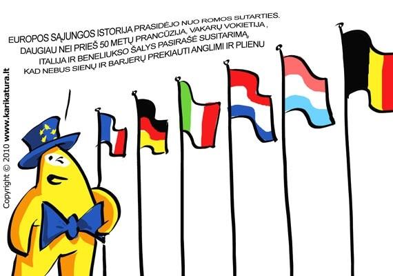 Europos Sąjungos istorija prasidėjo prieš daugiau nei prieš 50 metų, kada Prancūzija, Vakarų Vokietija, Italija ir Beneliukso šalys sutarė, kad prekiauti anglimi ir plienu nebus jokių kliūčių. Vėliau prie sąjungos jungėsi vis daugiau šalių, neliko kliūčių