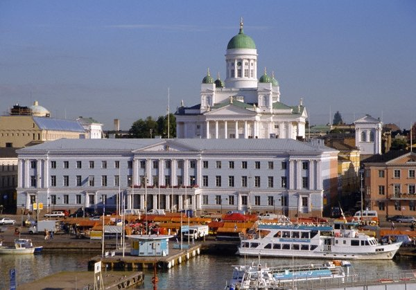 View to Market Square on Waterfront and Lutherian Cathedral, Helsinki, Finland, Scandinavia, Europe