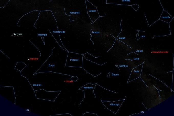 Pietinė žvaigždėto dangaus skliauto pusė rugsėjo 20 d., 24 val.