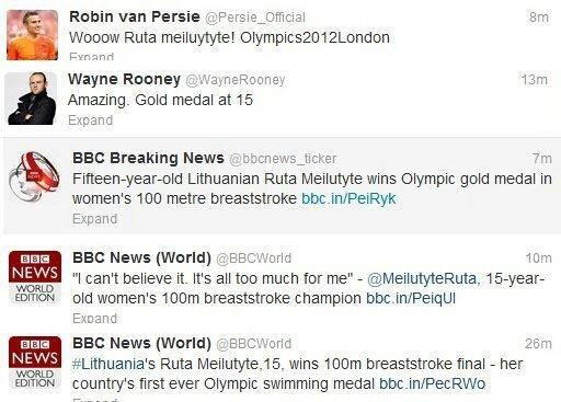 Wayne'o Rooney ir Robino van Persie sveikinimai Rūtai Meilutytei