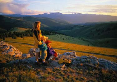 kalnai, turizmas, šeima, iškyla