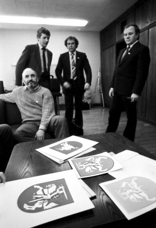 Patackas (seated) with other signatories of the 1990 Independence Act: Saulius Šaltenis, Kazys Saja and Povilas Varanauskas
