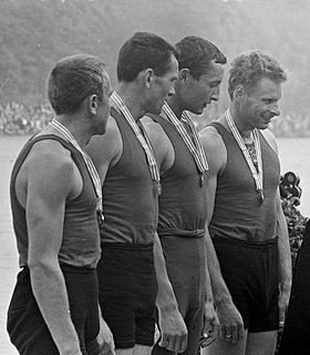 Lithuanian rowers Zigmas Jukna, Antanas Bagdonavicius and Juozas Jagelavicius (far right) each claimed a Bronze medal in the 1968 Olympic tournament.