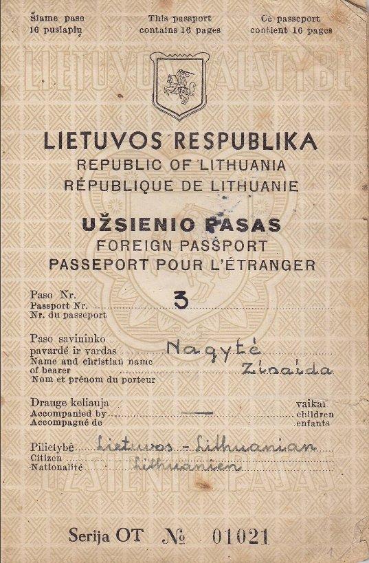 Liūnės Sutemos pasas, nuotr. Maironio lietuvių literatūros muziejaus