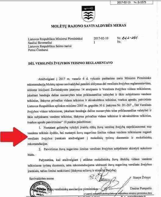 Molėtų rajono savivaldybės mero Stasio Žvinio raštas
