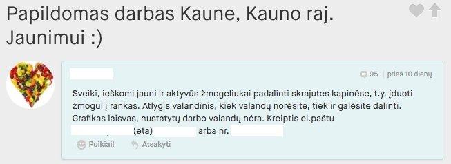 Vilniaus darbo skelbimai - nemokami darbo skelbimai. Čia galite rasti pasiūlymų iš žinomų įmonių ir įdarbinimo agentūrų. Darbo paieška, karjera, laikinas ir papildomas darbas studentams.