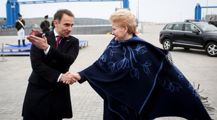 Lithuania's Energy Minister Rokas Masiulis and President Dalia Grybauskaitė at the new LNG terminal's welcoming ceremony last year. The goal: diversify away from Russia's Gazprom, which has had this country's by the throat for generations.