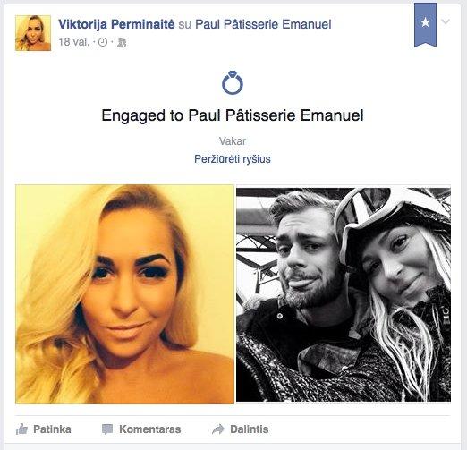 Viktorija Perminaitė susižadėjo su mylimuoju.